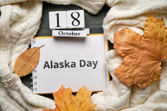 Alaska Day of autumn month calendar october