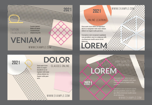 Flyer Layout with Paper Cut Simple Layered Geometric Shapes