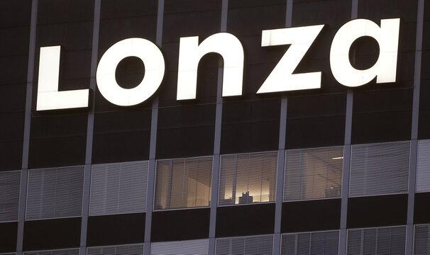 Logo of Swiss contract drug maker Lonza is seen in Basel