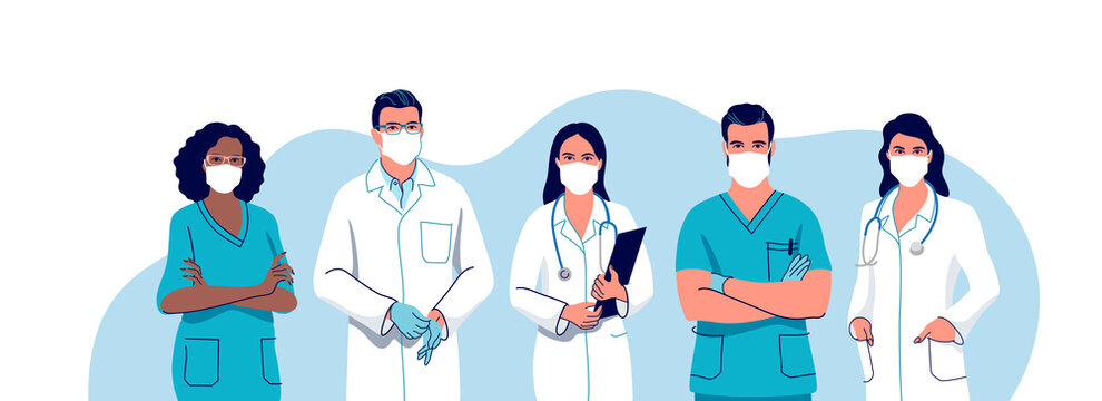 Medical staff. Doctors and nurses wearing a surgical face mask, male and female medical characters set. Vector illustration.