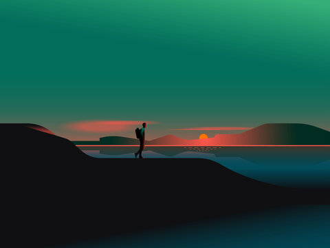 Illustration of man walking on mountain during sunset