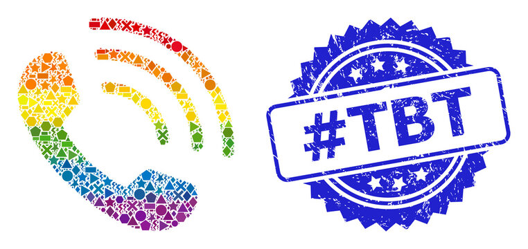 Rubber #Tbt Stamp Seal and Rainbow Geometric Phone Call Mosaic