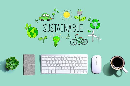 Sustainable with a computer keyboard and a mouse