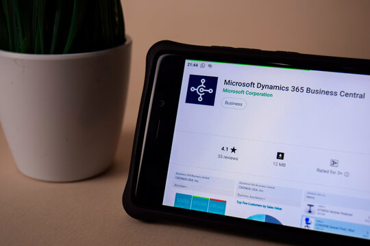 Microsoft Dynamics 365 Business Central dev application on Smartphone screen. Dynamics 365 is a freeware web browser developed by Microsoft Corporation