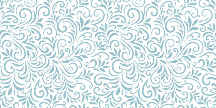 Vector seamless pattern with leaves and curls. Monochrome abstract floral background. Stylish monochrome texture.