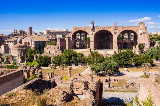 Basilica of Maxentius or Constantine seen from Palatine Hill, Rome, Lazio