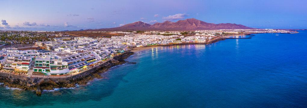 Playa Blanca at dusk, Lanzarote, Canary Islands, Spain, Atlantic