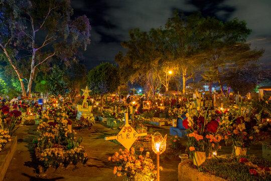 Dia De Los Muertos (Day of the Dead) celebrations in the cemeteries of Oaxaca, Mexico
