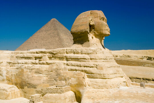 The Great Sphinx and one of the pyramids at Giza, Cairo