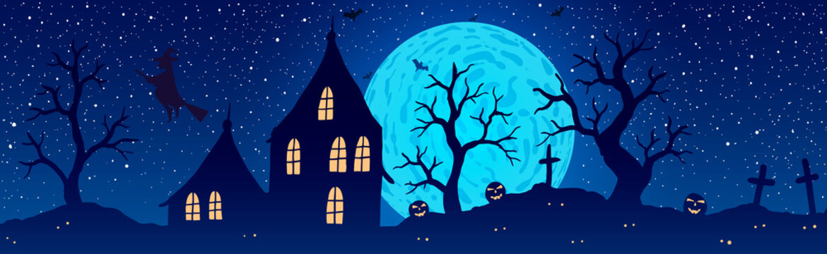 Vector illustration of halloween. Pumpkin Jack on background of the old house, cemetery and full moon.