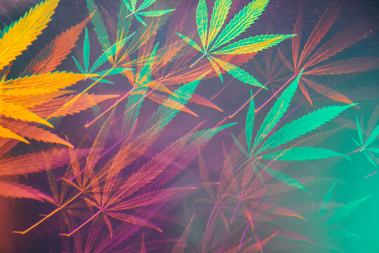 Funky, abstract kaleidoscopic glitch cannabis/marijuana background