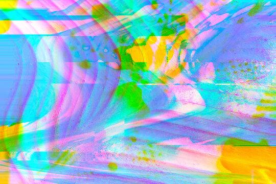 Painted glitch palm pattern/background
