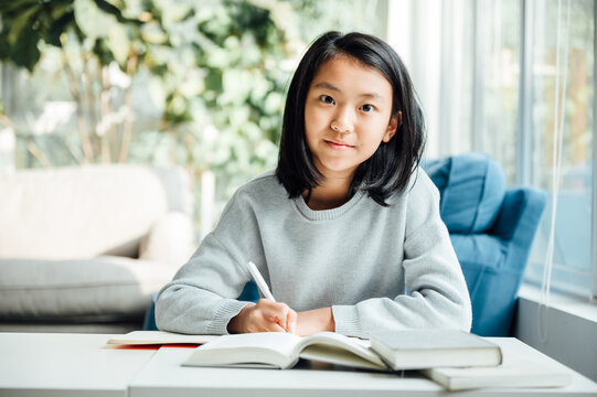 Teenager girl doing homework at home
