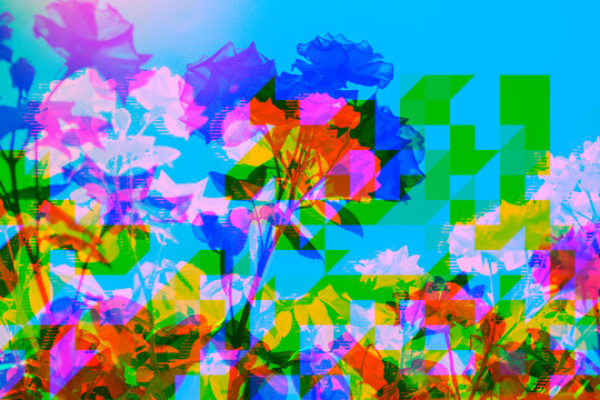 Vibrant retro floral pixel,glitch background