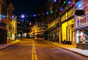 Main Street with Christmas Lights Fotomurales