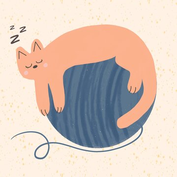 An abstract cat is sleeping on a skein of thread for knitting. Cute hygge illustration. Autumn or winter cozy atmosphere.