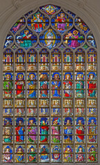 ANTWERP, BELGIUM - SEPTEMBER 4: Windowpane in the gothic cathedral of Our Lady on September 4, 2013 in Antwerp, Belgium