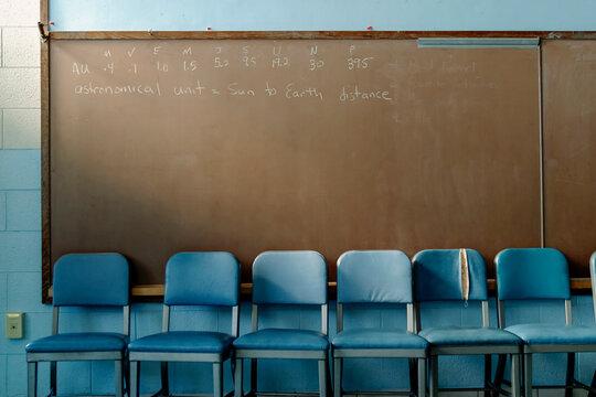 Chalkboard in High School Classroom