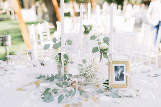 A wedding reception place setting