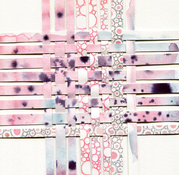 Pinky watercolor paper weaving art