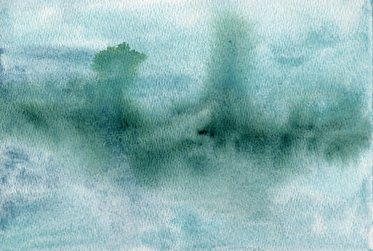 Green blue abstract watercolor background