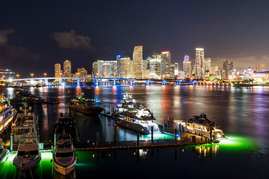 Miami cityscape after sunset