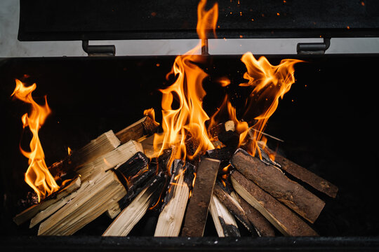 Woods burning for barbecue