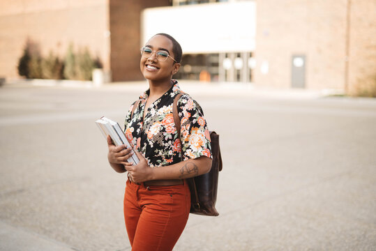 A female student at a college campus