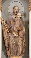 BARCELONA, SPAIN - MARCH 3, 2020: The carved polychrome statue of St. Joseph in the chruch Santuari de la Mare de Deu del Carme (carmelites) by V. Navarro from 20. cent.