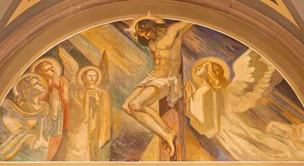 BARCELONA, SPAIN - MARCH 3, 2020: The fresco of crucifixion in the church Santuario Nuestra Senora del Sagrado Corazon by Francesc Labarta (1960).