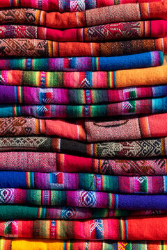 Pile of Colorful indigenous fabrics