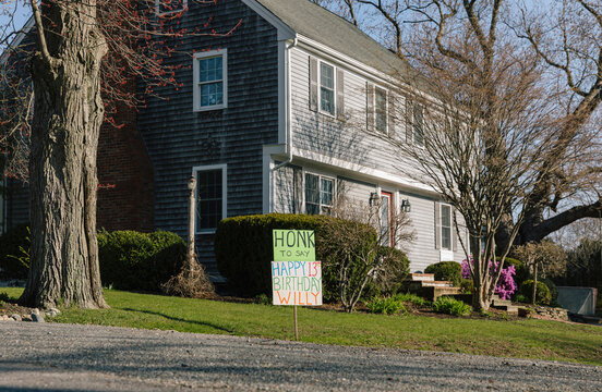 Drive By Birthday Party sign during Pandemic on lawn