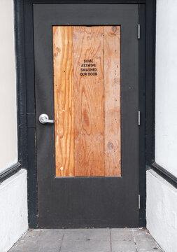 Retail Door Smashed By Burglar