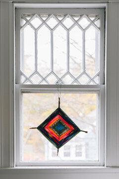 Homemade yarn Star Hanging in Window
