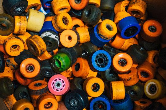Pile of Old Rollerskating Wheels