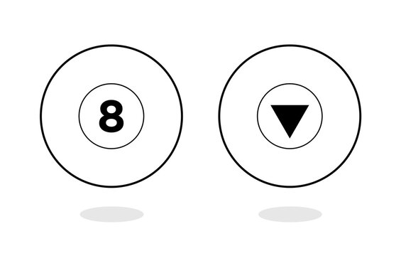 Magic ball vector. Ball with number 8. Magic ball of predictions for decision-making. Realistic black sphere. Eight ball. Billiard game. Vector illustration. Magic packaging.
