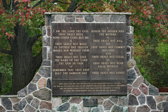 Toronto, Canada - October 1, 2020:  A memorial monument at Mount Pleasant Cemetery has the text of the Ten Commandments.