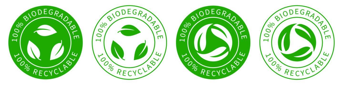 Biodegradable recyclable vector icon, 100% persent biodegradable recycle stamp, reusable plastic bio package logo icon set, compostable recyclable vector icon