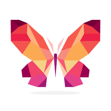 Butterfly polygon art image. vector illustration