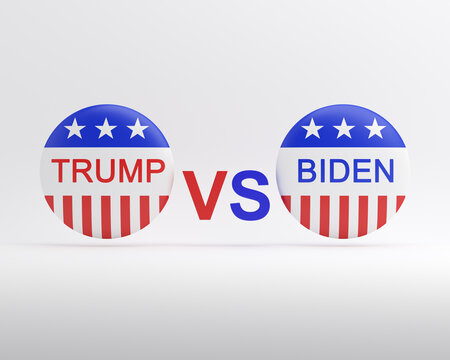 Bengkulu, Indonesia - October 01, 2020: Vote election campaign badge button Trump VS Biden isolated on white background, 3D rendering illustration.