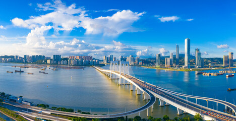 Aerial scenery of Xiwan bridge in Macao, China