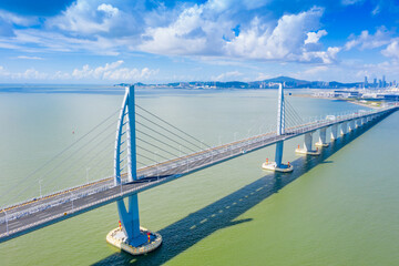 Aerial view of the Zhuhai section of the Hong Kong–Zhuhai–Macau Bridge, China