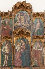 TAORMINA, ITALY - APRIL 9, 2018: The renaissance altar in Duomo (San Pancrazio) by Antonello de Saliba (1504).