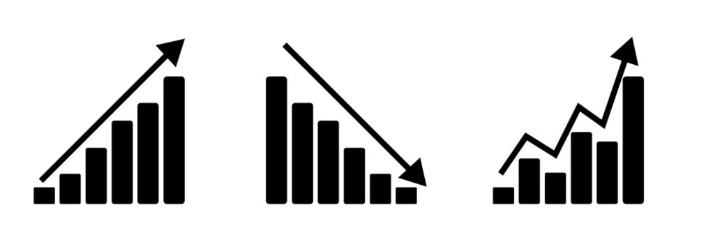 Groth barchart and line graph analysis thin line icon