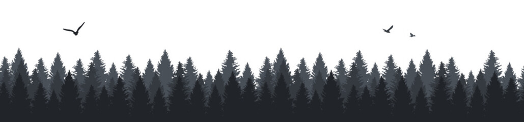 Forest trees and flying birds silhouette seamless pattern background illustration