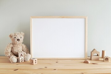 Nursery frame mockup, empty wooden horizontal frame for baby room or kids room wall art, print, photo.