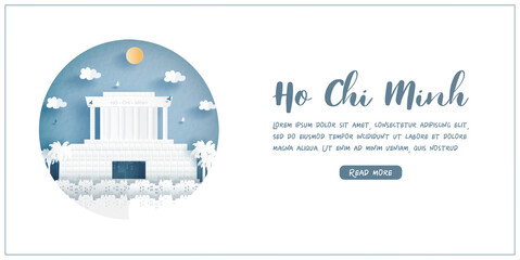 Fototapete - Ho Chi Minh city. Vietnam's world famous landmark with white frame and label. Travel postcard and poster, brochure, advertising Vector illustration.