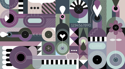 Abstract art composition of wine bottles and music instruments. Geometric style vector illustration.