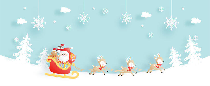 Christmas card, celebrations with Santa and reindeer on a cart, Christmas scene for banner in paper cut style vector illustration.