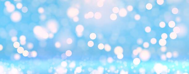 Glitter bokeh blue background. Sparkle lights glamour illustration. Glittering sparks decoration...